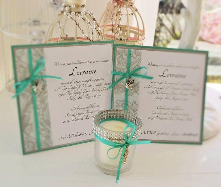 LORRAINE - tiffany green open style invite with chifon border detail