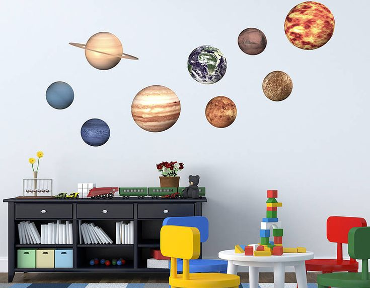 These funky planet wall sticker add a great space theme to your children's playrooms or rooms.