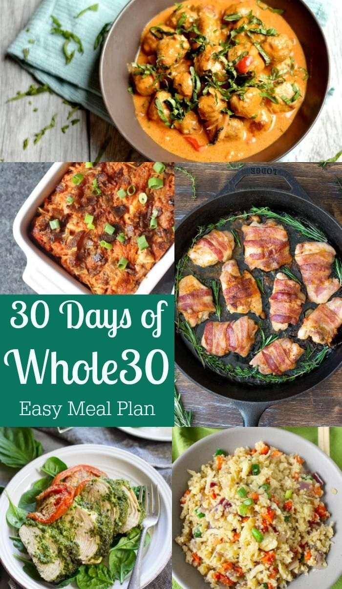 30 Days of Whole30 {Easy Meal Plan + Recipes!} | Paleo Running Momma - Start off the new year with these delicious Paleo and Whole30 recipes - includes breakfast, lunch and dinner for 30 days.