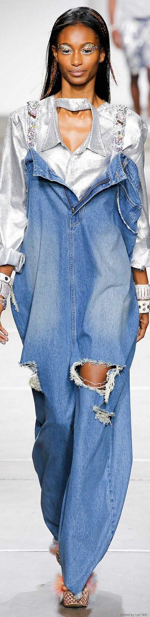 Not as tall as Grandpa, but his jeans are sure comfortable and look cool, right? Wrong! And that shirt is messed up, too. ~  Ashish Spring 2015 RTW