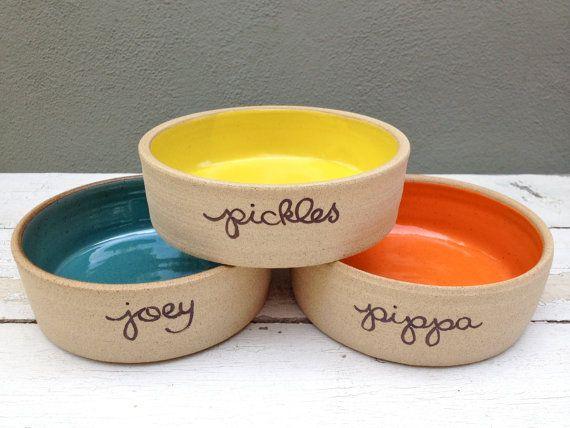Personalized Dog Bowl Pet Bowl Dog bowl pottery by jclayPottery