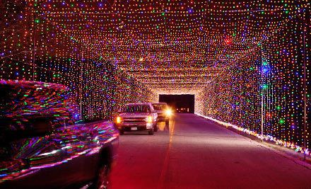 Christmas lighted road, arched highway section....  Lake Ridge Parkway,  Grand Prairie,TX.