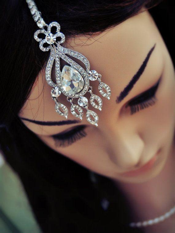 Wedding Tikka Headpiece - Indian Inspired Crystal Jewelry