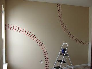Baseball room wall - cool idea for a basement or kids room