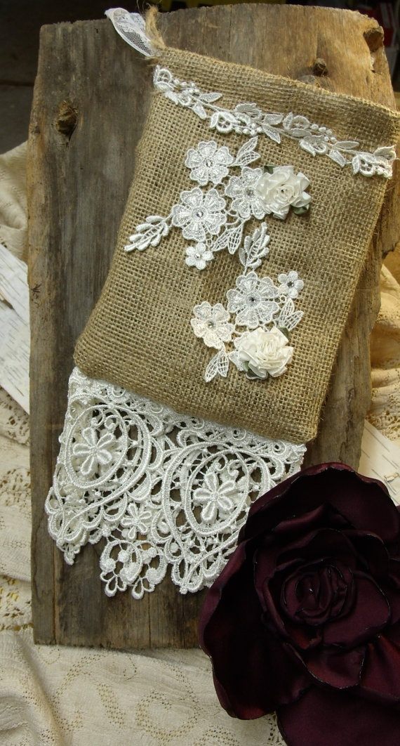 Bridal wedding wristlet bag Natural burlap lace by MilliesCorner, $55.00