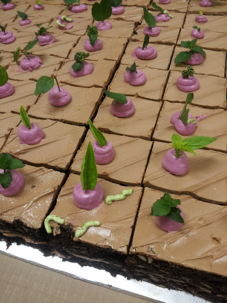 A chocolate beet cake make with ingredients from the Lantzville Farmers Market to celebrate the self-same market. The beets' tops are mint, and the butter cream is coloured with beet juice.
