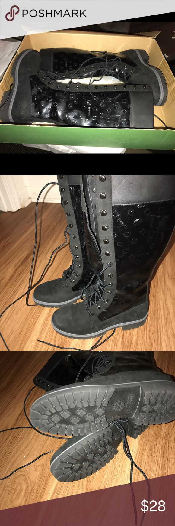 Knees high Timberland Boots Suede/patent-leather/and leather knee high boots. Worn a few times. Great condition Timberland Shoes Lace Up Boots