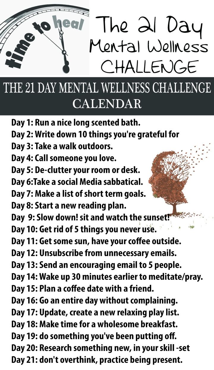 We all need to reserve ourselves a period in which to concentrate on ourselves and our soul, mental state. The hardest part is to get started and establish what we need to do. for that, the following list will get you started. Follow wit for 21 days and you'll see how far you can get. Next, add things that you feel you need to do and continue the challenge.