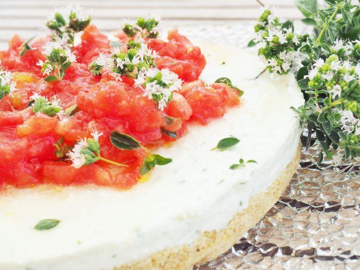 antipasto, basilico, cheesecake, cheesecake salato, Daniele Persegani, mozzarella di bufala, pomodoro, Torta salata, vegetariano