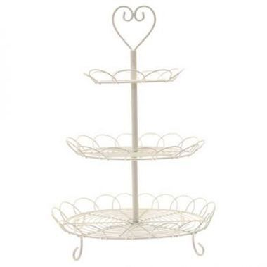 A Three Tier Cream Cake Stand. Dimensions: 48.5 x 34.5cm.