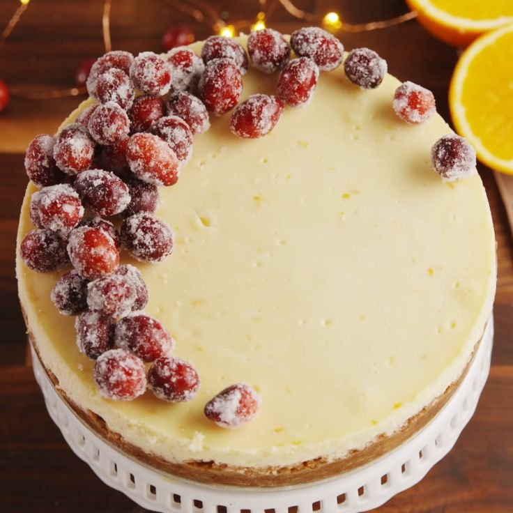 For those fancy holiday parties, a sparkling cranberry cheesecake.