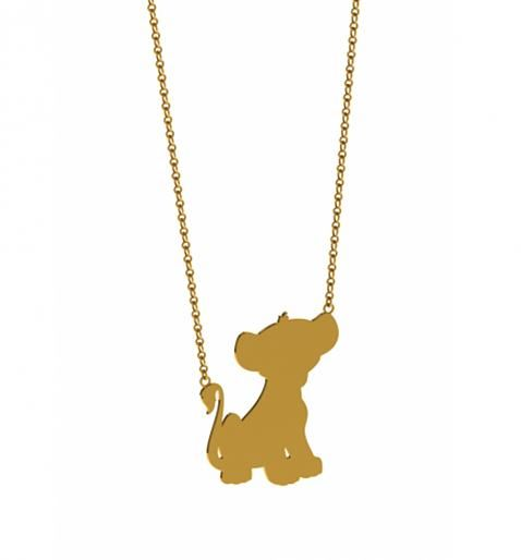 lion cub silhouette | Gold Plated Simba Silhouette Lion King Necklace from Disney Couture ...