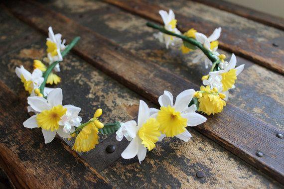 Daffodil Faerie Flower Crown - Wreath - Tiara - Headband - Costume - Wedding - Bridal - Prom  by earthcharms