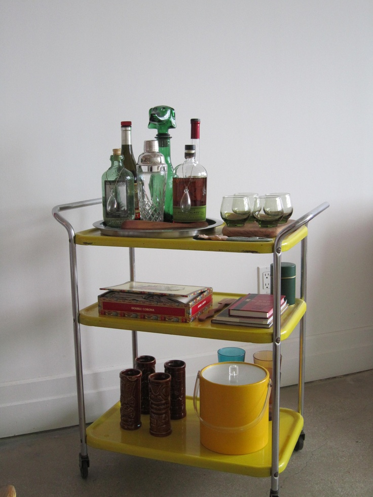 yellow mid century modern bar cart apartment. Black Bedroom Furniture Sets. Home Design Ideas