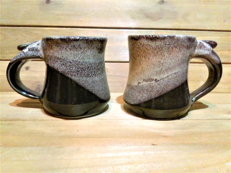Vintage Pair of Stoneware Pottery Mugs, Thumb Grip, Speckled Brown, Toffee and Black, His and Her Mugs, Couples Gift, Rustic Farmhouse Mugs by HouseofOHvintage on Etsy