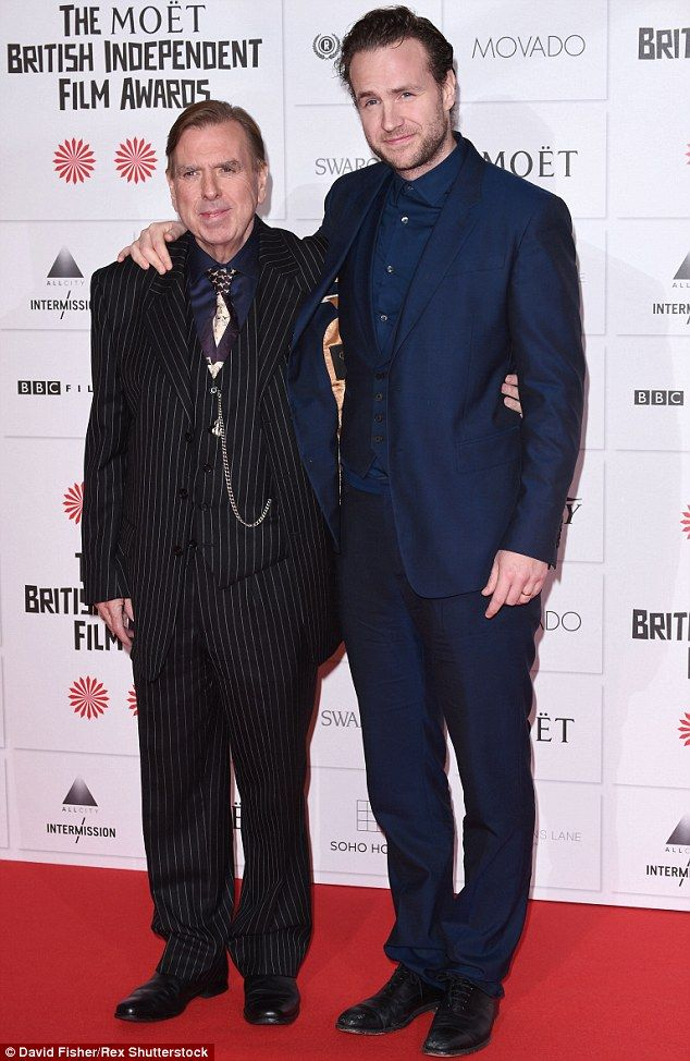 Meanwhile, his son Rafe Spall famously weighed 18.5 stone before adopting a healthier lifestyle (right) - pictured in December 2014
