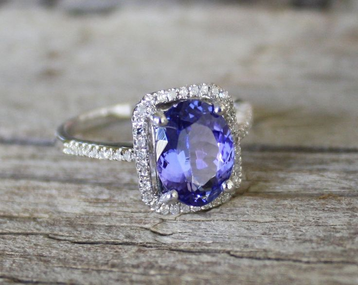 2.24 Cts. Tanzanite Diamond Engagement Halo Ring in 14K Solid Gold. $2,130.00, via Etsy.