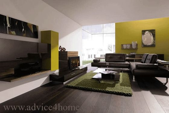 Natural dark wooden floor and black sofa set design and - Hardwood floor living room design ...