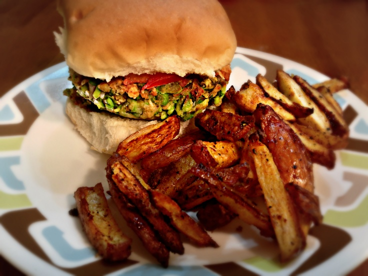 Edamame Burger & Roasted Red Potato Fries on the Windsor Hills Wicks ...