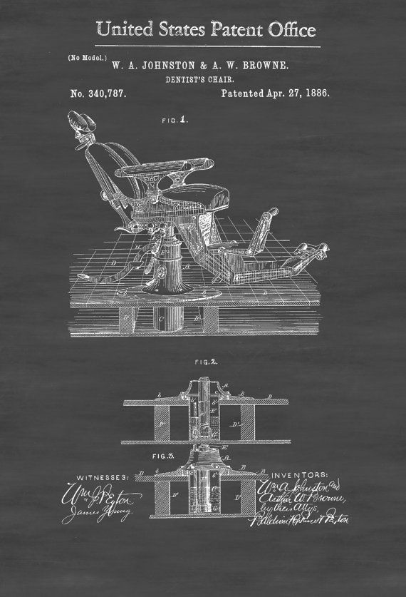 Dentist Chair Patent Patent Print Wall Decor от PatentsAsPrints
