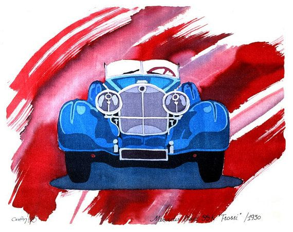 "MERCEDES BENZ 1930 - House Decoration - Mixed technique Batik and Watercolor Painting - Fine Art Giclée Print - Wall Hanging ( 7"" x 9"") on Etsy, $20.00"