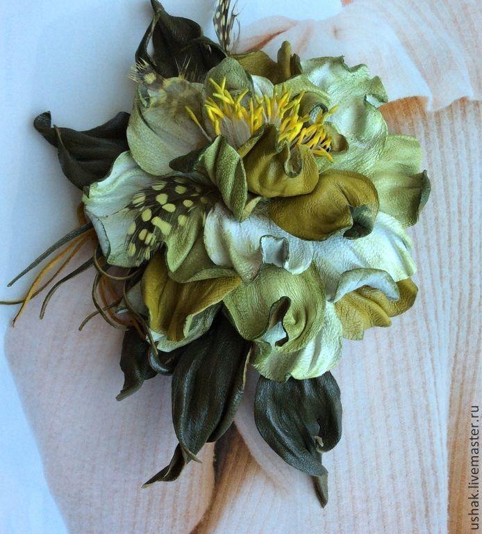 """ В парах абсентного дурмана"" цветок из кожи. Handmade."