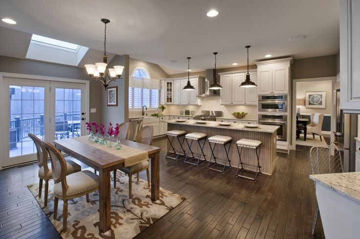 Kitchen Area Estates At Cohet Elkton By Toll Brothers Featuring Progress Lighting Fresnel Pendants