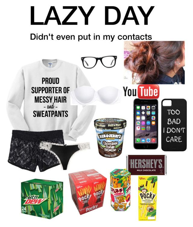 """""""Lazy Day Today"""" by dorkshifire ❤ liked on Polyvore featuring Victoria's Secret PINK, Hershey's, Muse and Victoria's Secret"""