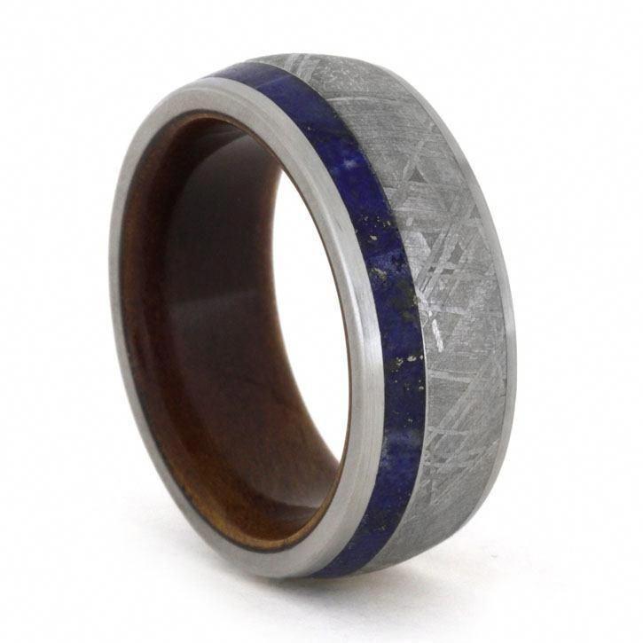 Lapis Lazuli And Meteorite Ring With Ipe Wood Sleeve Wedding Band 1780 1 249 00 Meteorite Care Kit D Meteorite Ring Meteorite Wedding Band Jewelry By Johan