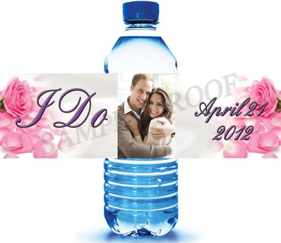25 Custom Water Bottle Labels for Wedding Favors by iCustomWater ...