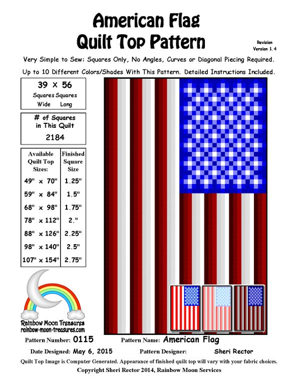 Looking for your next project? You're going to love 0115 American Flag Quilt Pattern by designer Rainbow Moon. - via @Craftsy