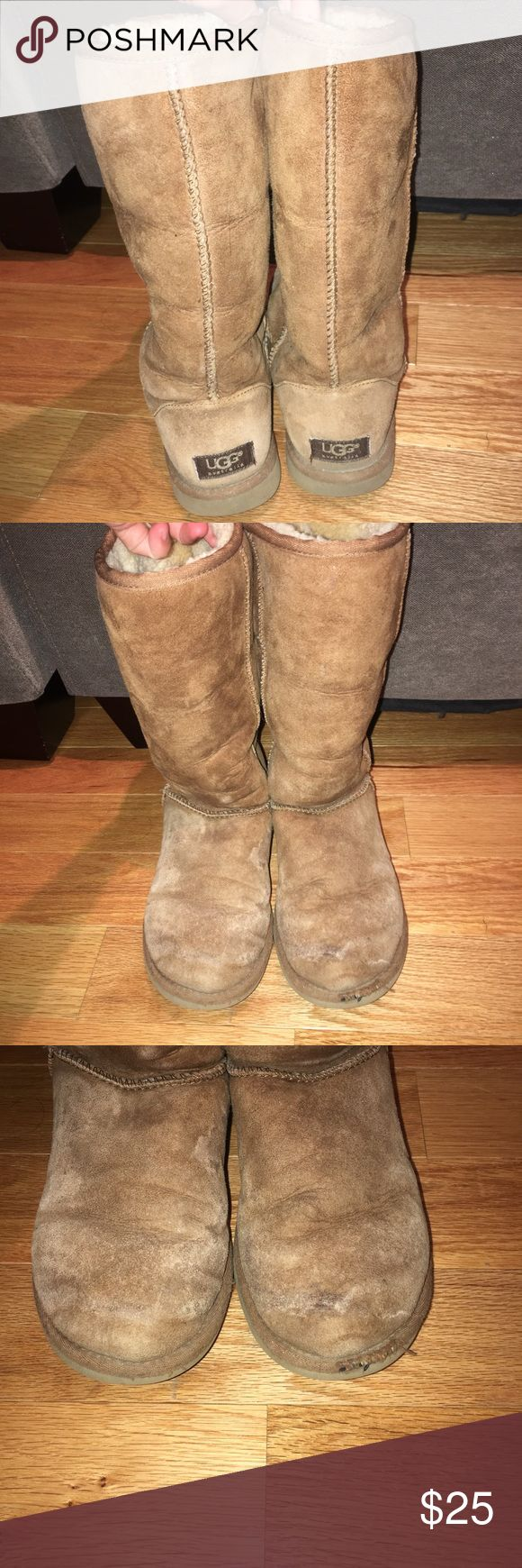 Women's original UGGs Used but still has some good life left. Price will reflect condition. Flaw on the front toe as shown in picture. Inside of both are still in good condition. Outside definitely has some wear, but I'm selling for a friend that has not worn them in a few years. Size 7. Willing to negotiate. UGG Shoes Winter & Rain Boots