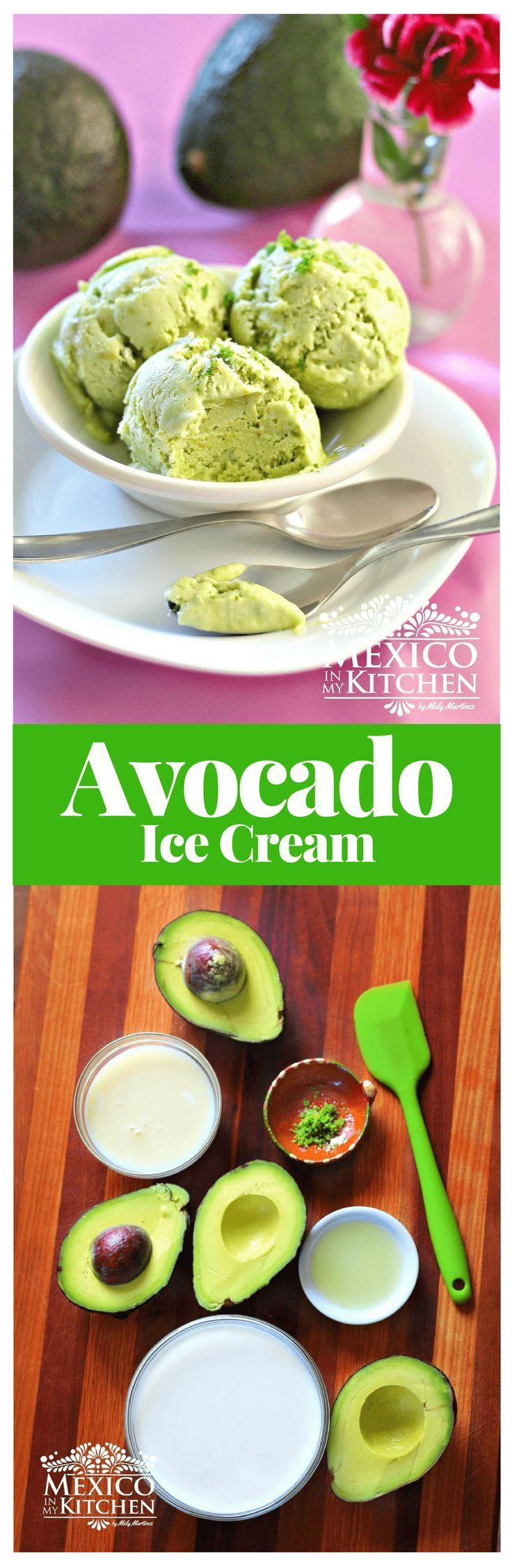 Avocado ice cream │Avocados are common fare on every Mexican table, either as a side dish or as an ingredient. #mexicanrecipes #avocado #kitchen #desserts