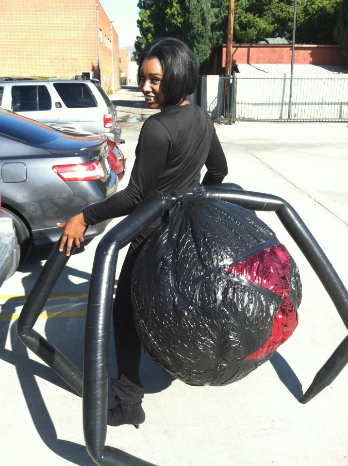 A very creative spider costume... I think this can be modified for a proper drider, and I want to try that.