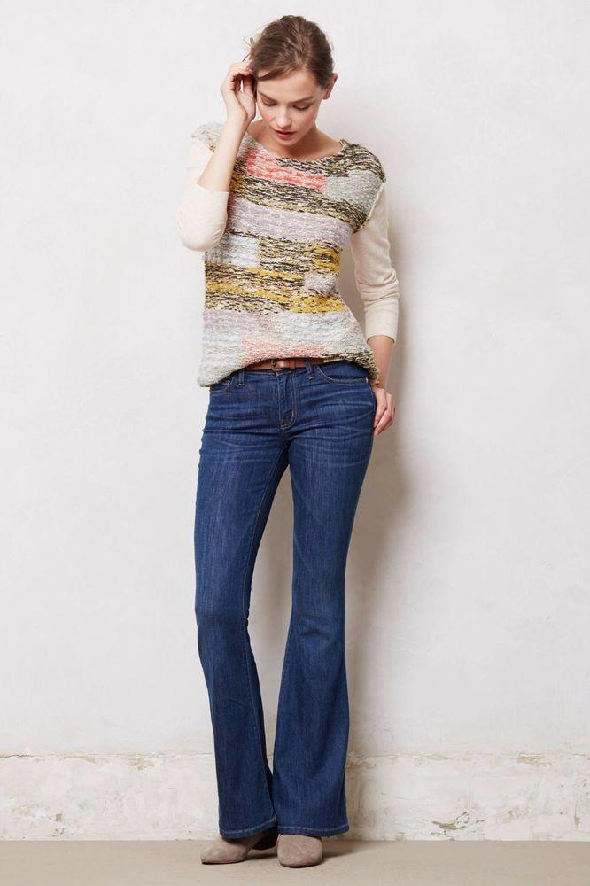 Anthropologie Jeans CURRENT ELLIOTT THE LOW BELL BOTTOM Boho Hippie 70s Flare 24 #CurrentElliott #Flare