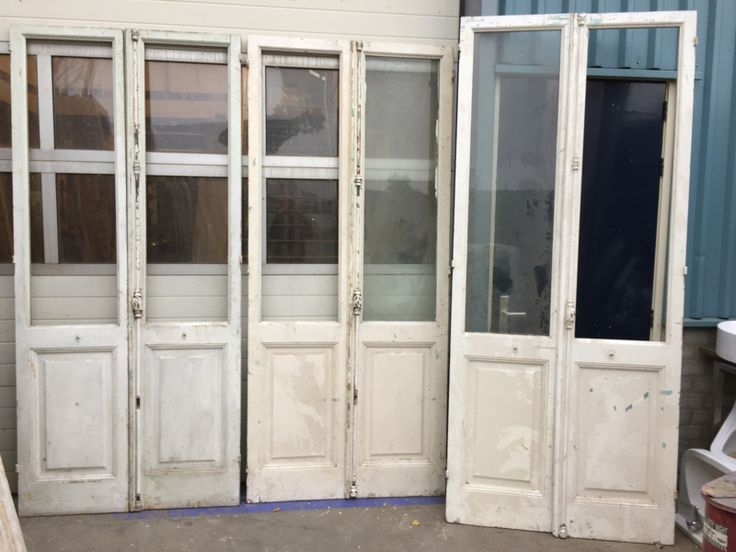nr. set499 sets antieke glasdeuren met espagnolette (meerdere)