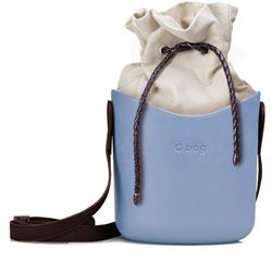 O Basket - Azure Blue with Brown Faux Strap and Natural Canvas Insert