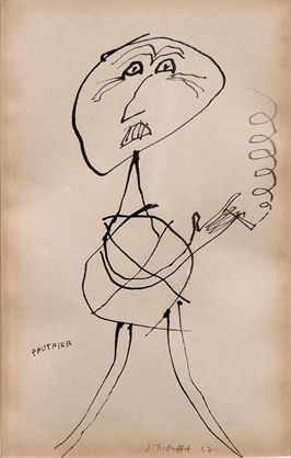 Jean Dubuffet (French, 1901–1985)  Portrait de Fautrier, 1947  Ink on paper  Rare ink drawing is a portrait of French Taschisme painter and sculptor Jean Fautrier.    #Jean Dubuffet #French art   #Jean Fautrier