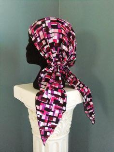 No-tie chemo scarf, free pattern and tutorial, Snip-Rip-Hooray, chemo hat, chemo headwear, chemo cap, chemo hat