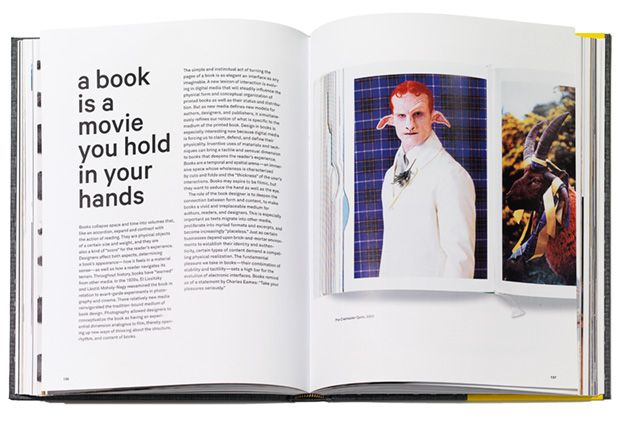 Opening spread of a section on book design, with pages from <i>Matthew Barney: The Cremaster Cycle</i>, 2003, right.
