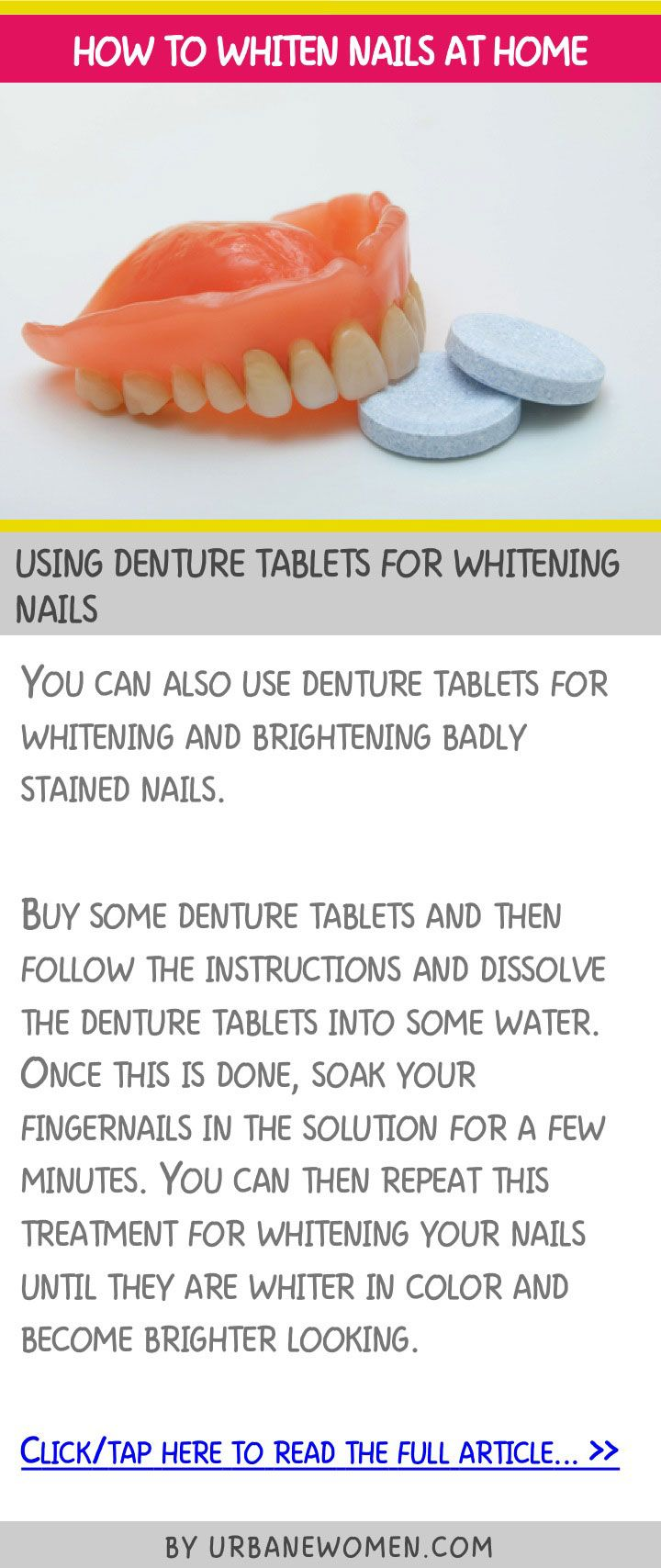 How to whiten nails at home - Using denture tablets for whitening nails