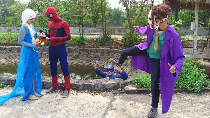 Spiderman & Captain America arrested Joker thief Mickey Mouse Doll of El...