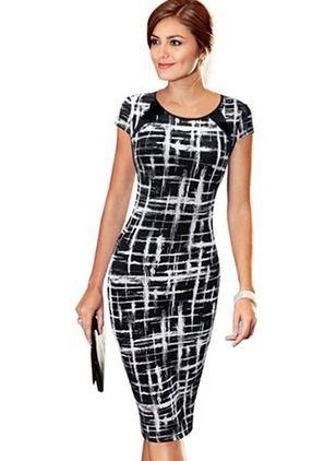 Polyester Others Cap Sleeve Knee-Length Elegant Dresses