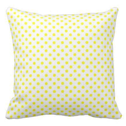 Small Sunshine Yellow Polka Dots on White Throw Pillow - #customizable create your own personalize diy