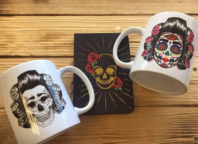 Sugar skull mugs with a scouse twist Have a cuppa and take some notes/doodle/make a to-do list with our boss skull and roses notebook