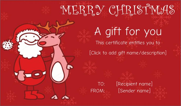 Santa Friend With Reindeer Gift Certificate #christmasgiftcoupon   Christmas  Gift Vouchers Templates  Christmas Gift Vouchers Templates