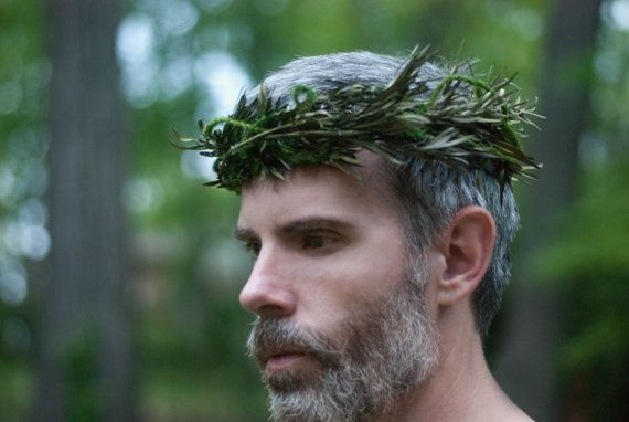 Woodland Moss and Vine Wedding Crown for Men Elf King by LilyMairi