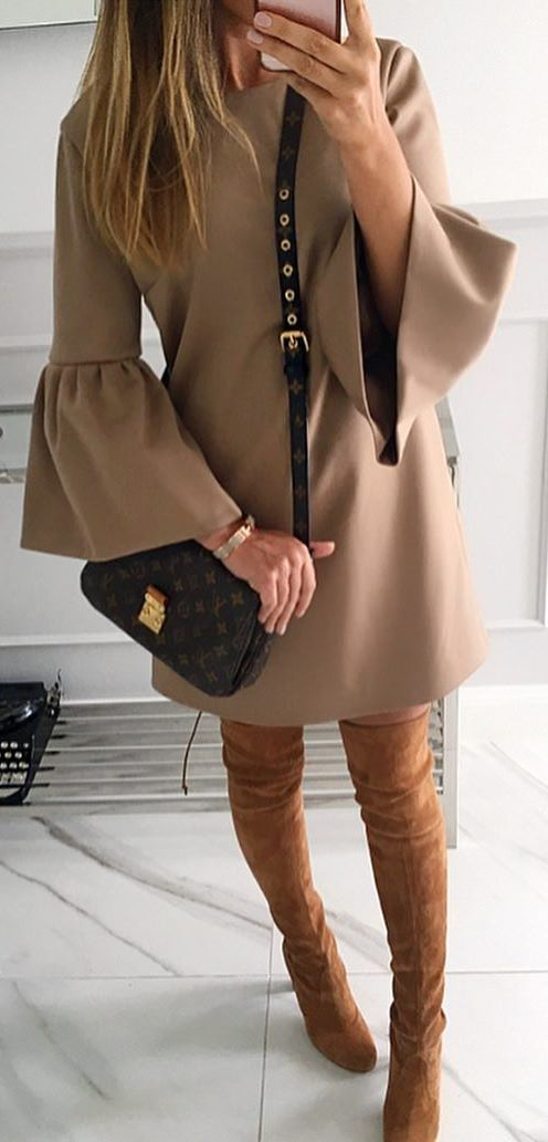 beautiful fall outfit / nude dress + bag + brown over the knee boots