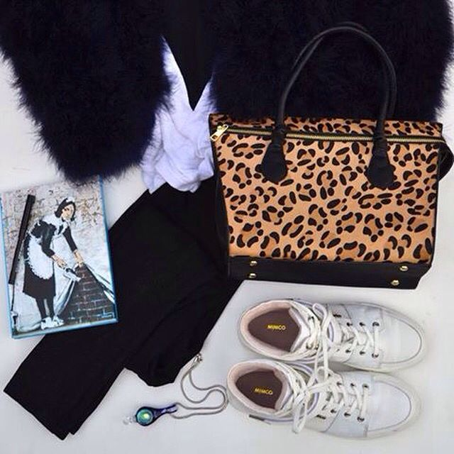 Woman's fashion flat lay, feather coat, leopard bag from seed heritage, mimco kicks cbiggphotos