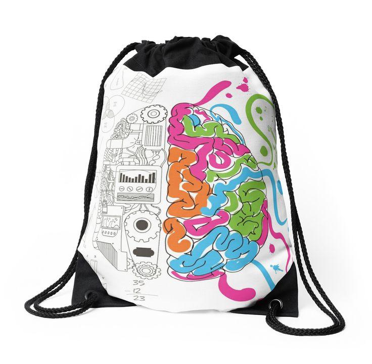 Brain Creativity Illustration by Gordon White | Creative Brain Chemistry Drawstring Bag Available @redbubble @redbubblecreate  ---------------------------  #redbubble #sticker #brain #creative #creativity #chemistry #nerd #geek #cute #adorable #drawstring #bag  ---------------------------  http://www.redbubble.com/people/blackbox23/works/23716610-creative-brain-chemistry?asc=u&p=drawstring-bag&rel=carousel